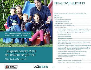 Cover Tätigkeitsbericht 2018: Mutter, Vater, drei Kinder an einer Rutsche; rechts Ausschnitt Inhaltsverzeichnis
